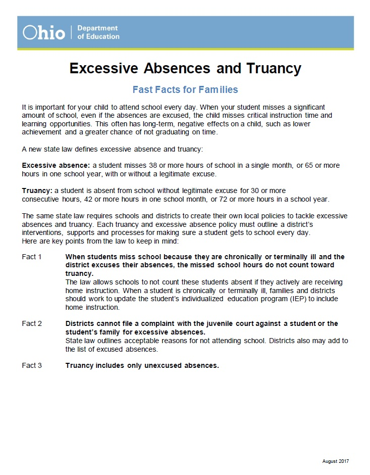 Fast Facts   Excessive Absences   Truancy